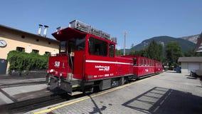 Steam trainn railway carriage going to Schafberg Peak stock video footage