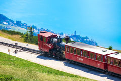 Steam trainn railway carriage going to Schafberg Peak Stock Photos