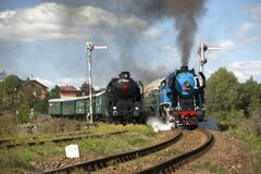 Steam Trains From Krupa Station, Steam Locomotive Called Parrot Royalty Free Stock Images