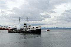 Steam tug `Saint Christopher` Grounded in the Beagle Channel. Stock Image
