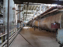 Steam turbine, machinery, pipes, tubes at power plant Royalty Free Stock Image