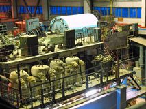 Steam turbine, machinery,at power plant Stock Photos