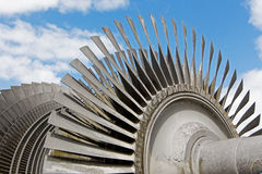 Steam turbine of nuclear power plant against  sky Stock Photos