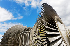 Steam turbine of nuclear power plant against  sky Royalty Free Stock Image