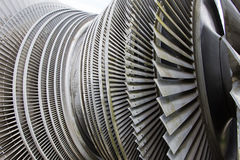 Steam turbine of nuclear power plant in the sunlight Stock Photography
