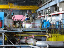 Steam turbine during repair, machinery, pipes at a power plant Royalty Free Stock Image
