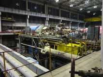 Steam turbine during repair, machinery, pipes, tubes at a power Royalty Free Stock Photography