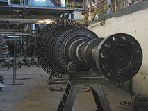 Steam turbine during repair, machinery, tubes Royalty Free Stock Image