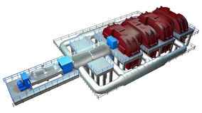 Steam Turbine. Use to produce electricity royalty free illustration