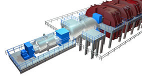 Steam Turbine. Use to produce electricity stock illustration