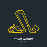 Steam vacuum cleaner flat line icon, logo. Vector illustration of household appliance for housework equipment shop or. Cleaning service Stock Photo