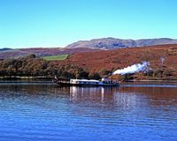 Steam yacht on Coniston Water. Royalty Free Stock Image