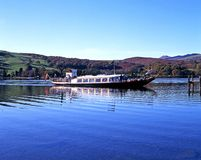 Steam yacht on Coniston Water. Stock Image