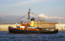 The steamboat. The retro boat moored in the Neva River delta (St Petersburg Stock Image