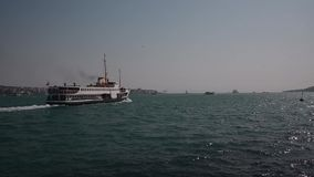 Steamboat Ferry Goes with Passenger on Sea in Istanbul Bosphorus stock footage