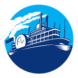 Steamboat Ferry Passenger Ship Retro. Illustration of steamboat ferry passenger ship vessel sailing set inside circle done in retro style Stock Image