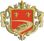Steamboat Fleur De Lis Coat of Arms Retro Stock Photos