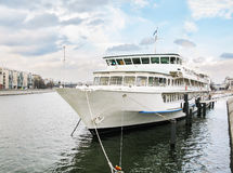 Steamboat. Front view of anchored passenger ship in water Stock Image