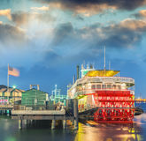 Steamboat on Mississippi river, New Orleans.  royalty free stock photography