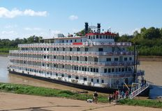 Steamboat on Mississippi River. At Vicksburg, MS stock photography
