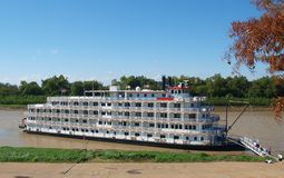 Steamboat on Mississippi River. At Vicksburg, MS stock photos
