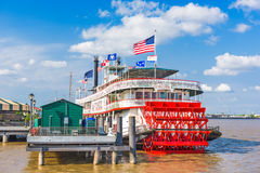 Steamboat Natchez in New Orleans. NEW ORLEANS, LOUISIANA - MAY 10, 2016: The steamboat Natchez on the Mississippi River Royalty Free Stock Images