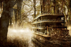 Steamboat on river. Steamboat on a river, among high trees and mist. Image on grunge background royalty free stock images