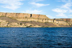 Steamboat Rock state park in Eastern Washington state, USA. Banks lake and the walls of Grand Coulee in Steamboat Rock state park in Eastern Washington state royalty free stock photos