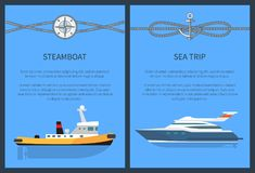 Steamboat and Sea Trip Set Vector Illustration. Steamboat and sea trip, set of posters with lettering and text sample, ropes and compass with anchor, vector Royalty Free Stock Photos