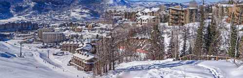 Steamboat Springs ski area. Descending into base area of Steamboat Springs ski area, Colorado stock image
