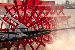 Steamboat Wheel. Red Paddle Wheel of a Steamboat in New Orleans, Louisiana stock image