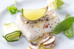 Steamed Atlantic Cod fish with spices and vegetable Royalty Free Stock Photo