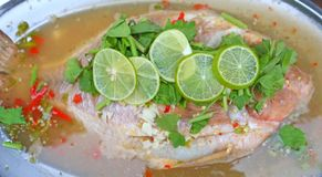 Steamed basa fish in lime dressing royalty free stock photos