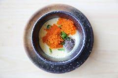 Steamed beaten egg. On wooden table stock images