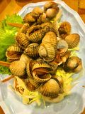 Steamed blanched cockles served with seafood sauce royalty free stock images