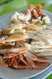 Steamed blue crab legs with spicy dip thai style Stock Image