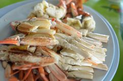 Steamed blue crab legs with spicy dip thai style Stock Photography