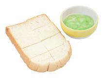 Steamed bread plate and green pandan custard Royalty Free Stock Photography