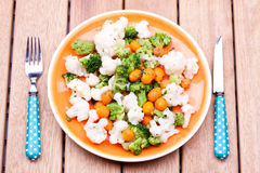 Steamed broccoli,carrot and cauliflower Stock Photos