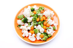 Steamed broccoli,carrot and cauliflower Royalty Free Stock Photos