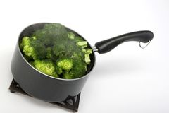 Steamed broccoli in a pot Stock Photos