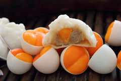 Steamed bun. Chinese steamed bun and steamed egg yolk Stock Image