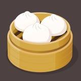 Steamed Bun Dim Sum. Steamed pork bun dim sum on a bamboo tray, vector illustration Royalty Free Stock Photo