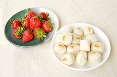 steamed bun and strawberry Royalty Free Stock Photo