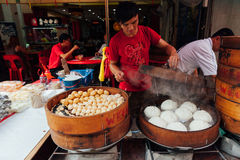 Steamed buns food stall in Chinatown, Kuala Lumpur, Malaysia Stock Photos
