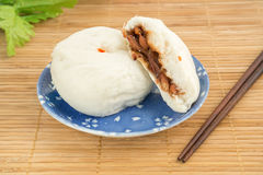 Steamed buns on plate , Baozi Stock Photography