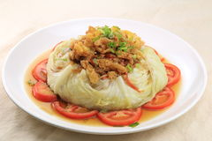 Steamed cabbage with tomato and herbs in chinese style on white Royalty Free Stock Images