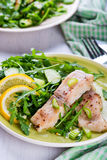 Steamed catfish filet with arugula salad Royalty Free Stock Images