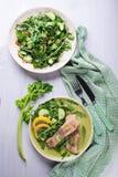 Steamed catfish filet with arugula salad Royalty Free Stock Image