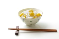 Steamed chestnut rice. Steamed rice with chestnut, Japanese autumn food Stock Photography